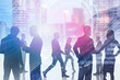 Business people in blurred city, hud interface