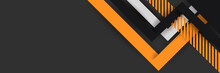 Bright Black Banner With A Trend Orange Stripes