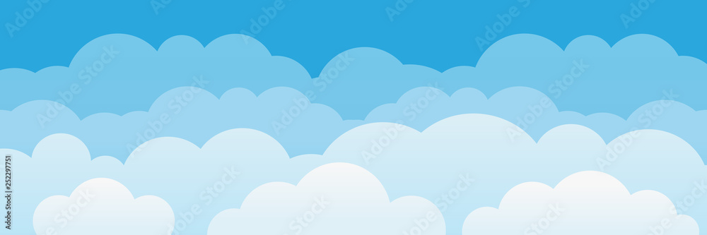 Fototapeta Cute cartoon clouds and sky background.