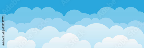 Cute cartoon clouds and sky background.  - 252297751