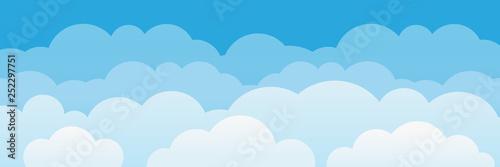 Obraz Cute cartoon clouds and sky background.  - fototapety do salonu