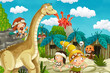 cartoon cavemen village scene with volcano and dinosaur diplodocus in the background - illustration for children