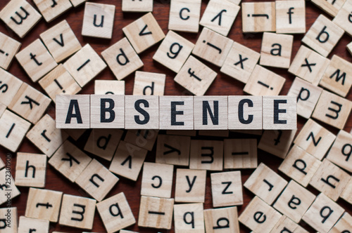 Photo absence word on building block