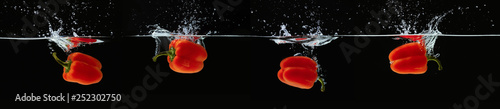 Fotografiet Colored orange paprika in water splashes on black background