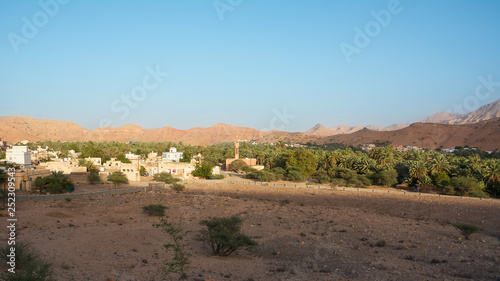 Small Omani village under the mountains and near Qurayyat (Oman)