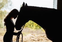 Young Woman With Horse In Stable Silhouetted With The Grass And Farm Behind Her