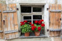 Altes Fenster Mit Offenen Holzfensterläden Und Blumenkästen Mit Geranien