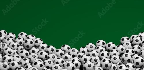Fényképezés  Ballons de foot sur fond vert