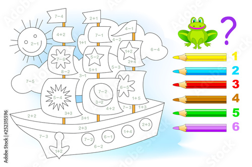 Educational page with exercises for children on addition and subtraction Canvas Print