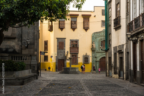 Street of Vegueta facing the Columbus House palace in Las Palmas de Gran Canaria.