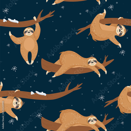 Seamless Christmas pattern with cute lazy sloths Fotobehang
