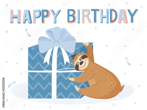 Cute Happy Birthday Card With Sloth Happy Lazy Sloth With Gift