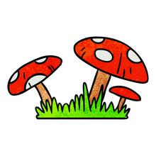 Textured Cartoon Doodle Of A Toad Stool