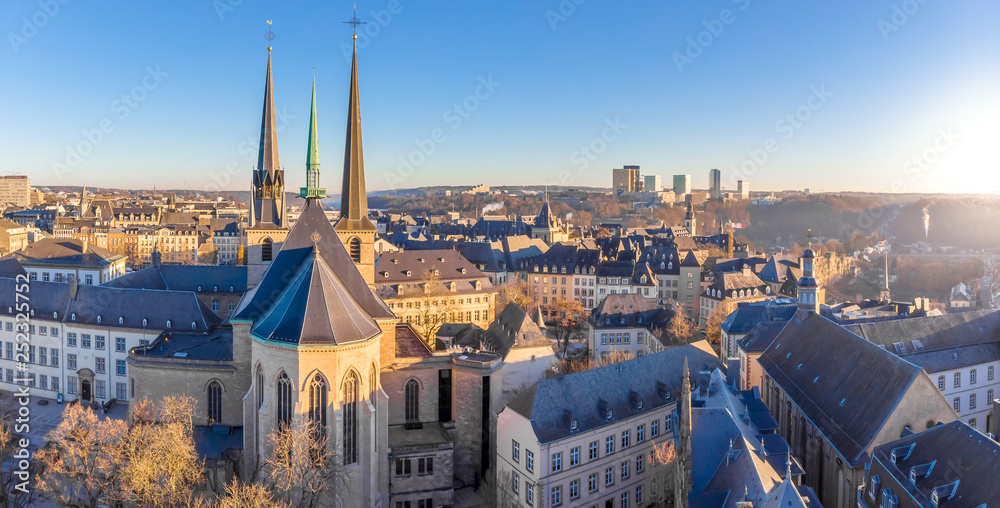Fototapety, obrazy: Aerial view of Luxembourg in winter morning