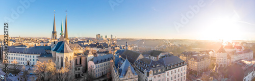 Fond de hotte en verre imprimé Gris Aerial view of Luxembourg in winter morning
