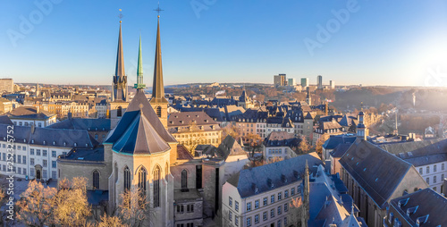 Valokuva  Aerial view of Luxembourg in winter morning