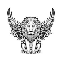 Lion Vintage Line Art