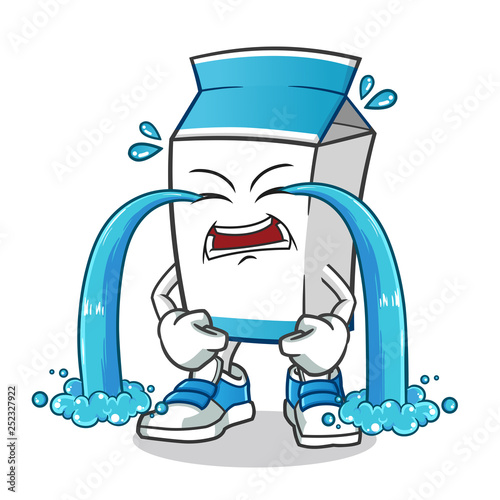 Fotografía  milk cry a lot mascot vector cartoon illustration