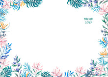 Watercolor Exotic Frame With Tropical Leaves, Flowers And Toucan For Wedding, Invite, Birthday Card. Isolated Illustrarion Summer Colors, Design Vertical Frame On White Background