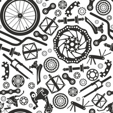 Bicycles. Seamless Pattern Of ...
