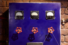 Blue Control Panel With Valves
