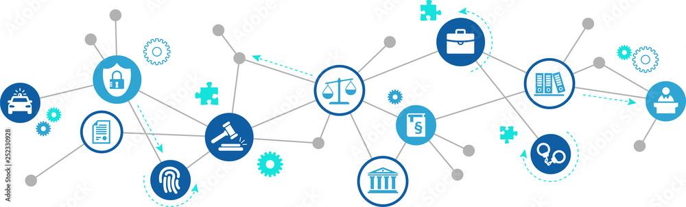 Fototapeta law & justice icon concept: legal practice, court representation, law office – vector illustration