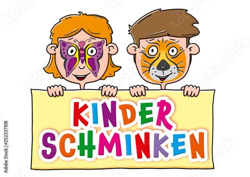 Kinderschminken Schild Canvas Print