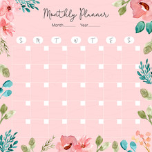 Monthly Planner With Watercolo...