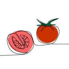 Tomato Continuous Line Drawing...