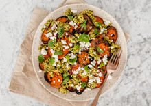 Sweet Potatoes With Goat Cheese, Pesto And Mint,