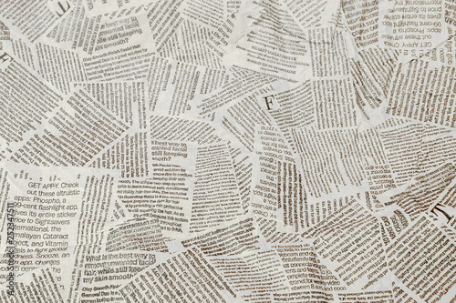 Black and white repeating torn newspaper background Poster Mural XXL