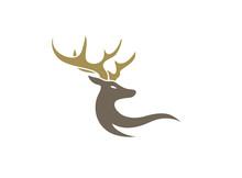 Deer With Big Horns For Logo Design