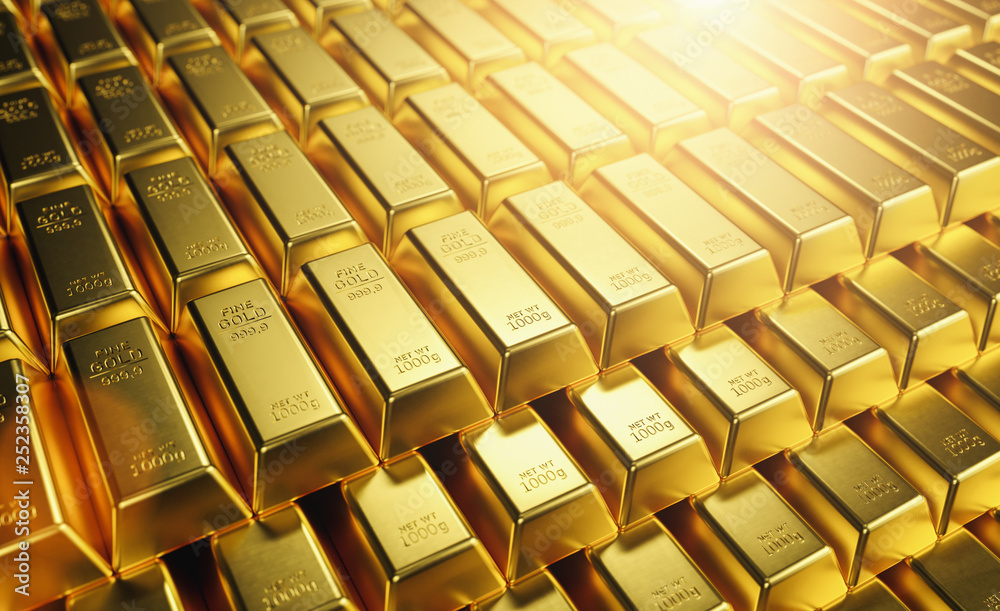 Fototapety, obrazy: Gold Bars 1000 grams. Concept of wealth and reserve