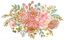 Watercolor Florals And Hand Drawn Botanical Elements