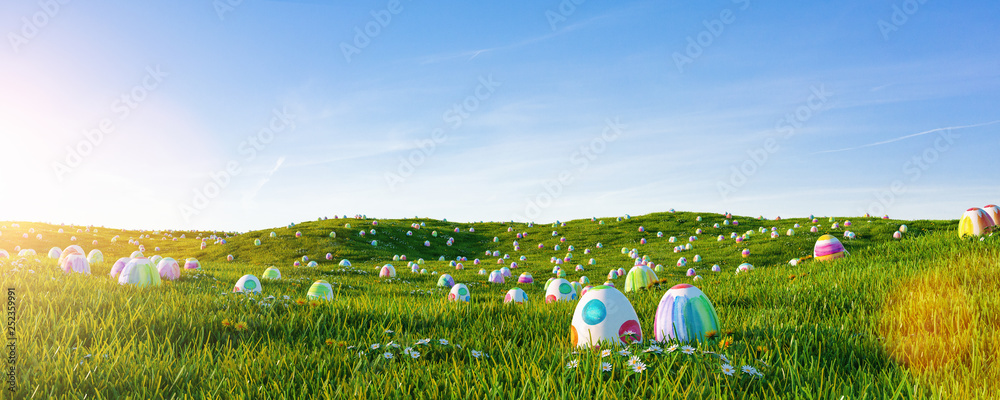 Fototapety, obrazy: Many colorful easter eggs painted with water paint in the grass of a meadow for easter