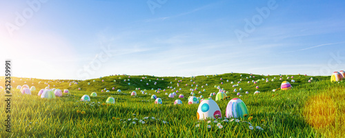 Foto op Plexiglas Weide, Moeras Many colorful easter eggs painted with water paint in the grass of a meadow for easter