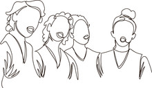 Chorus Girls. Girls Sing. One Continuous Line
