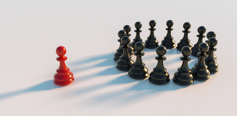 Leadership concept, red pawn of chess, standing out from the crowd in a circle