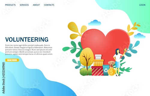Photo Volunteering vector website landing page design template