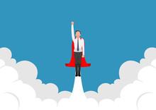 Super Businessman Flying Up Fr...