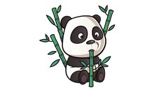 Vector Cartoon Illustration Of Cute Panda With Bamboo Stick. Isolated On White Background.