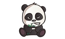 Vector Cartoon Illustration Of Cute Panda Is Angry. Isolated On White Background
