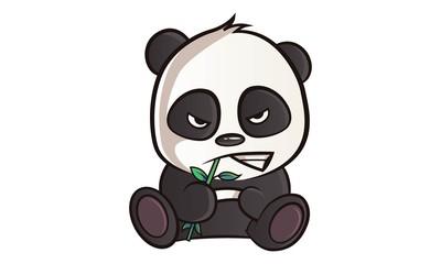 Fototapeta Panda Vector cartoon illustration of cute panda is angry. Isolated On white background