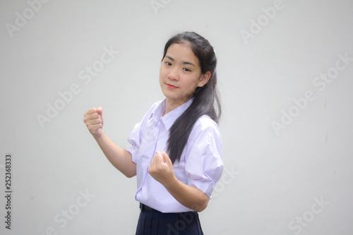Fotografía  Portrait of thai high school student uniform beautiful girl excellent