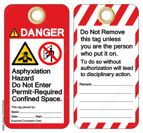 Danger Asphyxiation Hazard Do Not Enter Permit-Required Confined Space Tag Template Label Symbol Sign, Vector Illustration, Isolate On White Background Wallpaper Mural