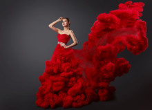 Woman In Red Ruching Dress, Fashion Model In Cloud Gown With Long Waving Flying Tail