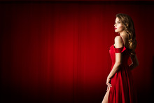 Fashion Model Over Red Fabric Background, Beautiful Sexy Woman In Red Dress, Long Hair