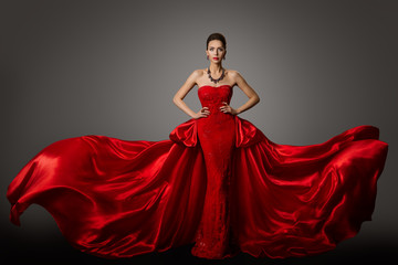 Fashion Model Red Dress, Woman in Long Fluttering Waving Gown, Young Girl Bea...