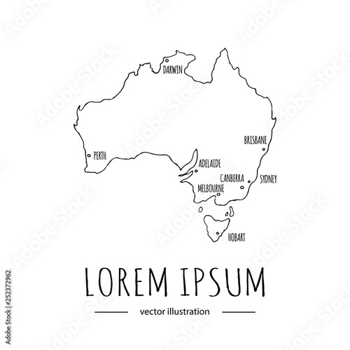 Hand drawn doodle Australia map icon Vector illustration