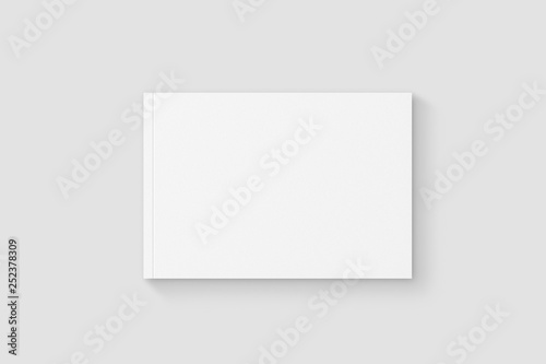 Blank white hardcover brochure, book or catalog mock up isolated on soft gray background Fototapeta